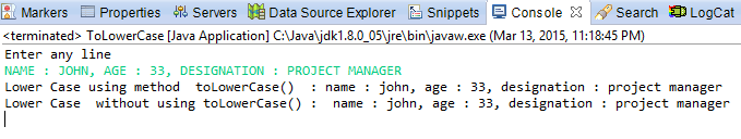 Java code to convert String to Lower Case with / without toLowerCase