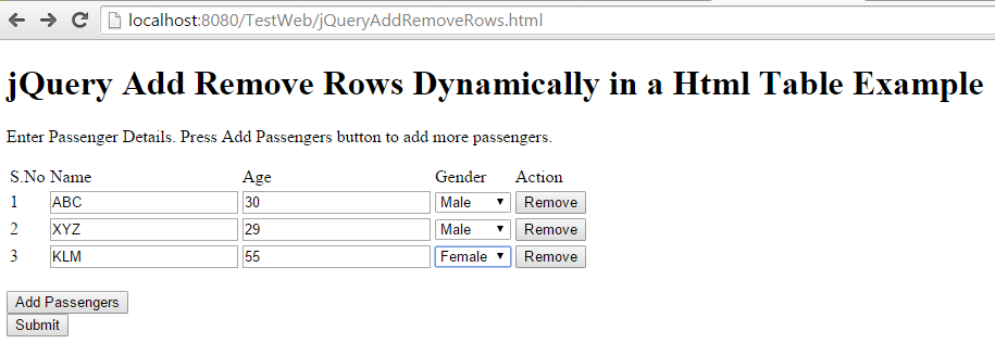Jquery to add remove html table rows dynamically and for Html table row