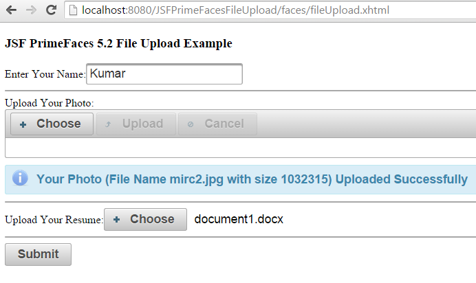 File Upload in JSF PrimeFaces 5 2 example simple & advanced